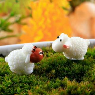 Cute PVC Sheep Craft DIY Mini Landscape Garden Ornamental