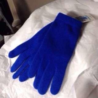 100% cashmere blue gloves BRAND NEW