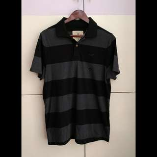 HOLLISTER Black and Grey Striped Polo Shirt