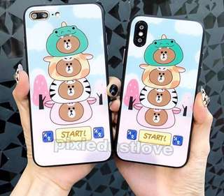 brown tempered glass phone casing
