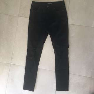Size 10 black Glasson ripped knee jeans