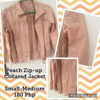 Peach Zip-Up Collared Shirt