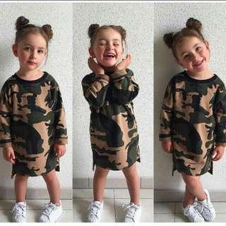 Baby girls camouflage long sleeve dress