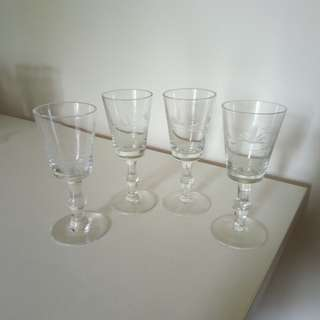 Set of vintage crystal sherry wine glasses