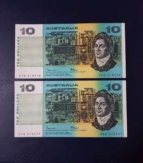 🇦🇺 *UNC* 1985 Australia $10 Paper Banknote~2pcs Consecutive Pair