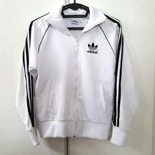 White Adidas 3 Stripes Jacket