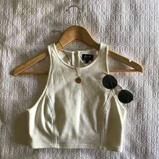 Bardot Cream Crop Top