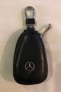 Genuine Cow Leather Mercedes Benz Key Chain  Coin Pouch