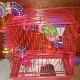 FREE SHIPPING BIG HAMSTER CAGE WITH TUBES AND ACCESSORIES
