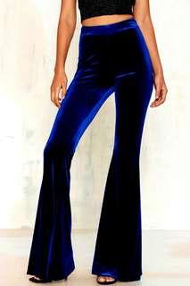 Dark Blue Velvet Flare Pants