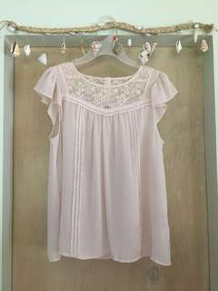 H&M Lace detail chiffon top