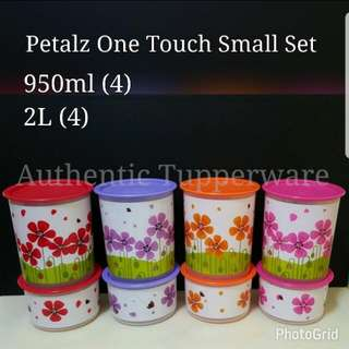 Authentic Tupperware  Petalz One Touch Small Set (8) One Touch Topper Small 950ml (4) 15.1cm(D) × 17.4cm(H) One Touch Canister Small 2L (4) 15.1cm(D) × 9.0cm(H)  Retail Price S$128.00 Now S$94.50/set tupperware