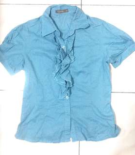 Ruffle button up blouse can be for office or work wear