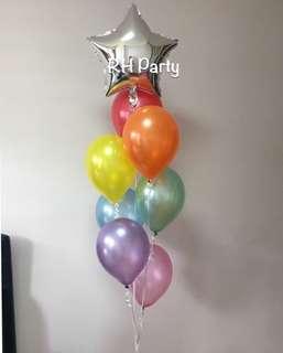 (30/3) 1 star foil + helium Latex bouquet (rainbow theme)