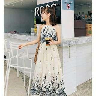 🚚 現貨區(M )🔴803韓版夏季 吊帶碎花雪紡長款連衣裙