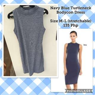 Navy Blue Turtleneck Bodycon Dress