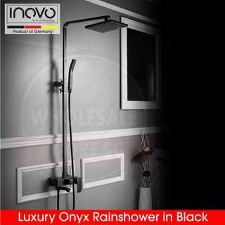 INOVO® Luxury Onyx rain shower, rainshower, basin tap and toilet accessories