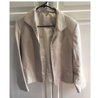Faux Leather Cream Jacket Size 8-10