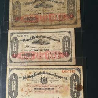 A set of 3 x British north Borneo.banknotes of 1930,1936 &1940 good, vf to gvf/abt EF scarce