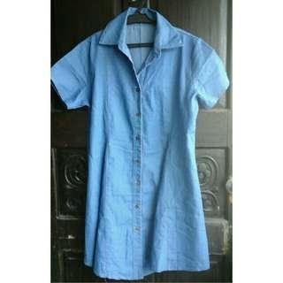 Buttoned Collar Blue Denim Dress