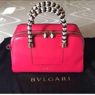 寶格麗 BVLGARI 莓紅色 肩背、手提波士頓包