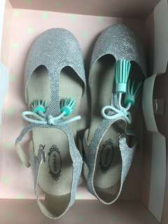 Joyfolie Layla T-strap Flats - Silver and Turquoise