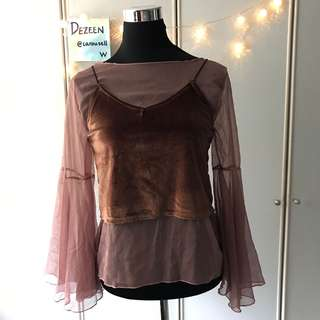 Velvet Top with sheer blouse  (two piece)