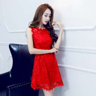 RED LACE DRESS ( pre-order 430007)