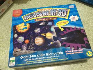 Discover It! 3D space floor giant puzzle 24in x 18in / planets