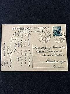 Vintage Postcard Italy 1950 15 lire Democratica w Railway Cancel
