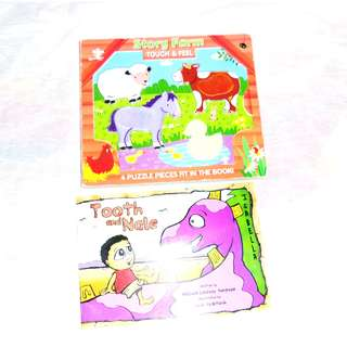 Charity Sale! Set of two Children's Books Story Farm Touch and Feel and Tooth and Nate