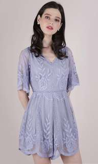 The Tinsel Rack TTR Miki Mesh Embroidery Romper in Periwinkle Size m