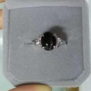 925銀鑲矽綫貓眼石戒指