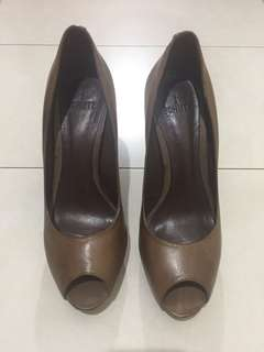 Schutz Brown Leather Peep Toe Pumps