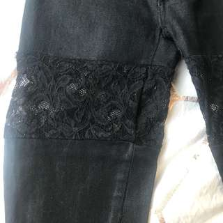 GASP jeans with lace thigh detail Size 6