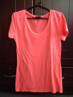 Neon Pink V neck Blouse