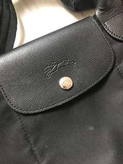 Longchamp 黑色 尼龍 手挽 兩用袋