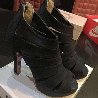 繃帶黑色高跟鞋 魚口鞋 涼鞋