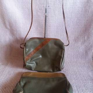 Authentic Charles Jourdan sling bag and pouch clutch