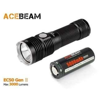 特價 - {MPower} AceBeam EC50 Gen II 內置充電 CREE XHP70 LED 3000流明 Flashlight 電筒 (跟充電池) - 原裝行貨