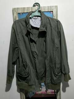 faded army green 3/4 jacket