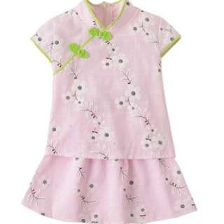 Kids Girls Cheongsam CNY Traditional Chinese Costume Racial Harmony Day Outfits ( Pink )