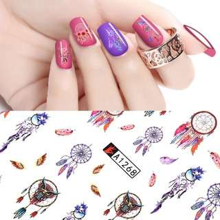 1 set 12 pcs tattoo cartoon nail sticker nail accessoires nail art water decal transfer decoration send randomly 1pcs free gift