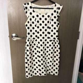 Cap Sleeved Polka Dot Work Dress