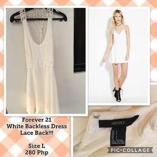 Repriced! Forever 21 White Backles Dress (with Lace!)