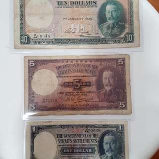Singapore Straits Settlement Bank Note $10 $5 $1