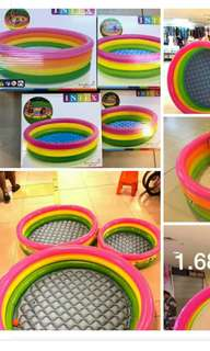 intex rainbow pool sizes: 86cmX25cm 1 kid php450            1.14mX25cm 2kids  php650            1.47mX33cm 2-3kids  php950            1.68mX46cm 3-4kids or adult  php1100