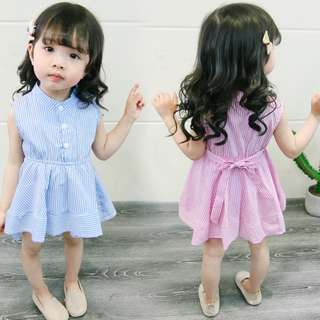 2018 Korean Style Baby Princess Casual Stripe Kids Girl Party Dress