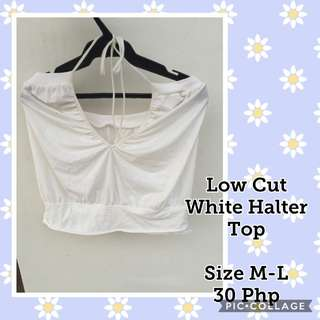 Low cut White Halter Top