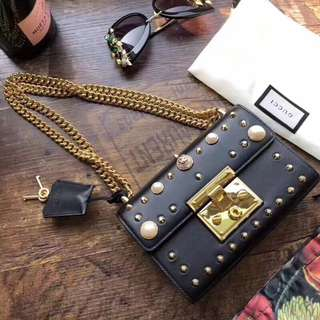 GG padlock 珍珠款 黑色